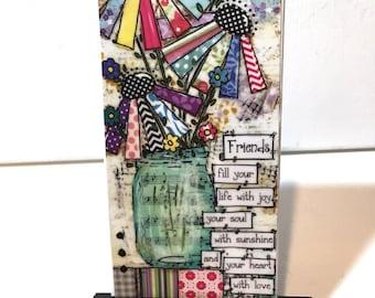 Friends Mason Jar Print , Print and Easel Set, Mason Jar Decor