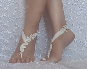 Bridal barefoot sandals ivory floral beach sandal barefoot lace shoe beach wedding