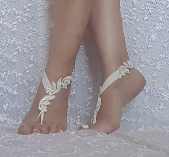 Bridal barefoot sandals ivory floral beach sandal barefoot lace shoe beach wedding