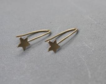 Long Dangle Gold Earrings Dangle Boho earrings, Gold Pull Through Earring Threader Hoop Earrings Gold Long Dangle Earrings for Women