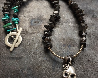 Womens skull necklace, day of the dead necklace, dia de los muertos necklace, womens skull jewelry, skull necklace, skeleton necklace, skull
