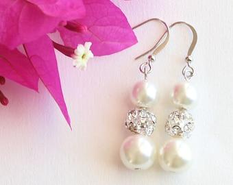 Bridesmaid earrings, pearl earrings, wedding gift, bridal jewelry, wedding jewelry, bridesmaid pearl earrings, wedding set, rhinestone