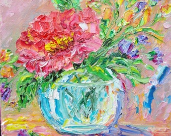 Pink Flower in a Glass Jar Painting Original 6x 6 Oil impressionism modern abstract impasto canvas art