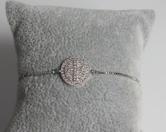 Cross Bracelet, Charm Bracelet,  Crystal Cross, Adjustable Bracelet