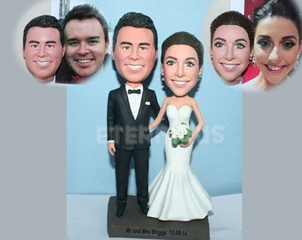 Custom Bobblehead - Custom wedding cake topper , Custom Handmade Bride and Groom Cake Topper, wedding cake topper figure