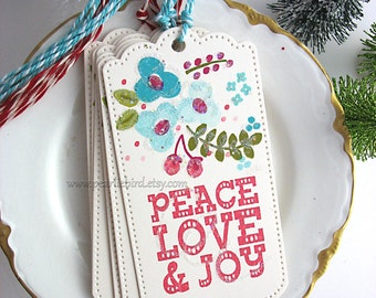 Folk Art Peace Joy Love Winter Holiday Gift Tags, Turquoise, Red, Olive Green, Pretty Packaging, Gift Topper, Floral Tag