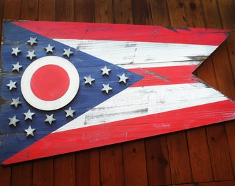 Ohio Vintage Wood Flag, Ohio Wooden Flag, Ohio Flag, Ohio, wooden flag, Cincinnati, Cleveland, Bengals, Browns, Ohio State, OSU, Buckeyes
