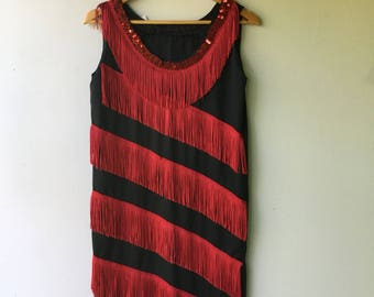 Retro 1920s FLAPPER Style Holiday Dress // Size Med