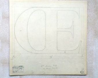Ligature OE, original font casting drawing, typographic drawing, type design. Collectable typography. 1932.