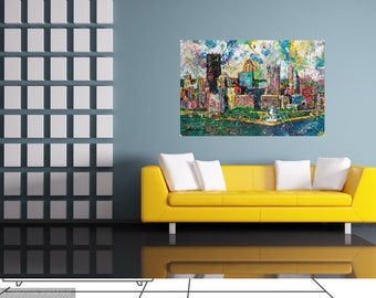 Pittsburgh Skyline Office art, Modern wall art, Corporate wall art, City Skyline, Three Rivers , The Point,  by Johno Prascak
