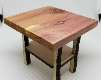 Miniature Dollhouse farm butcher block style table or island 1:12 scale Limited addition Red Cedar top