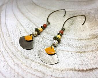 Ethnic earrings bronzes ochre and orange