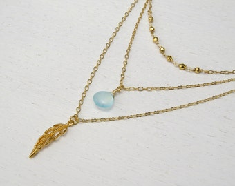 Summer SALE - Triple strand necklace, Aqua chalcedony necklace, Gold layered necklace set