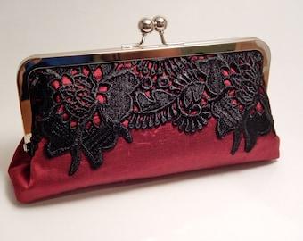 Metal-frame clutch purse Dupioni silk silk lace red evening bag wedding metal frame frame bridalclutch handbag cosmeticbag handbag