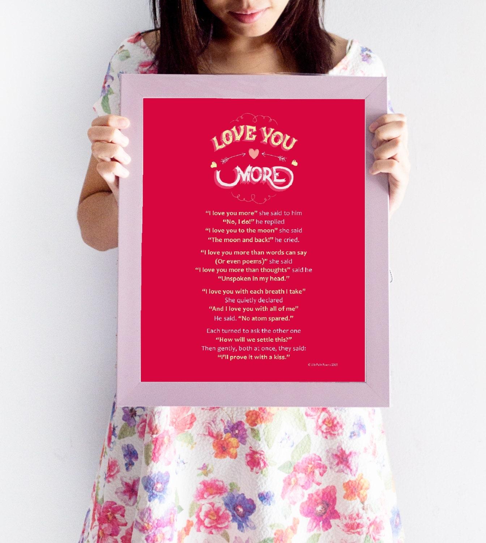 Gerahmte romantisches Gedicht: \'Ich liebe dich mehr\'