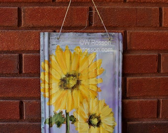 Two Sunflowers, Painting, Vintage Metal Shingle, Garden, Patio, Porch, Outdoor, Art, Original Painting, Winjimir, Home Decor, Wall Art, Gift