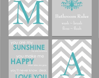 Bathroom Decor, Bathroom Art, Bathroom Wall Art, Bathroom Wall Decor, Bathroom Set - Set of four 8x10s You Choose Colors