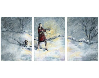 "Archival Art Print Triptych, Giclee Prints of Original Paintings, Small Set of Winter Art - ""Miles to Go"""