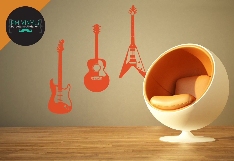 fender gibson and flying v guitar trio vinyl wall. Black Bedroom Furniture Sets. Home Design Ideas