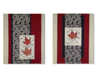 Art Quilt Wall Hanging Pair Red Maple Leaves Asian Style Scrolls