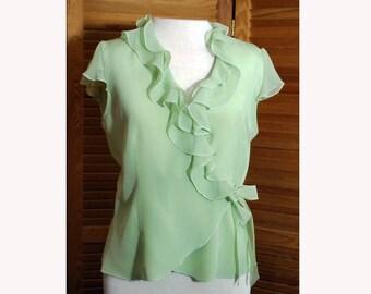 Vintage Silk Gatsby Lime Ice Wrap-Around Women's Blouse