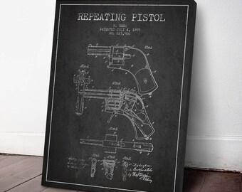 1899 Repeating Pistol Patent Canvas Print, Revolver Print, Gun Decor, Patent Art, Wall Art, Home Decor, Gift Idea, WE07C
