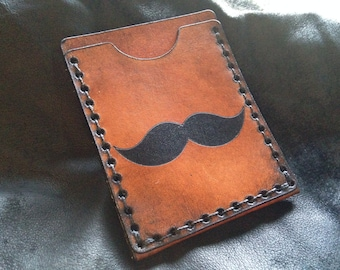 Leather Moustache card case credit card wallet movember handmade case