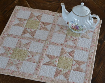 Cottage Chic square table topper, Cotton Quilted Table Runner, Pink Table Decor, Centerpiece