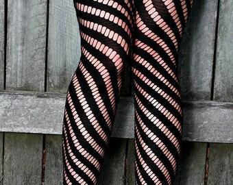 Black Hand Dyed Diagonal Striped Nylon Stockings Tights
