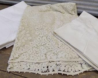 Ivory Cream Vintage Tablecloths 64x48 Rectangular 84x64 Rectangular 64x120 Oval, Vintage Tableclothes, Cream table clothes, ivory tablecloth
