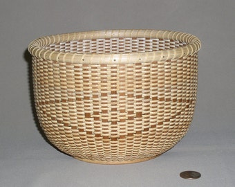 SALE - Nantucket Style Basket with Oak Base, Cherry Staves and Cane Weavers, Hand Woven