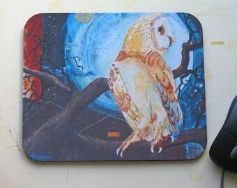 Mousepad / Barn Owl Night Scene Mouse Pad / Expressionistic Pandorian Style Art Image