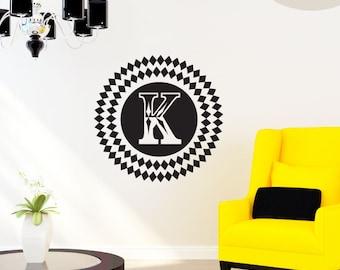 Large Diamond Monogram - Custom Vinyl Wall Decal w/ Your Initial