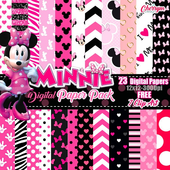 Minnie Mouse Pink Digital Paper FREE Clip Art Scrapbook Papers Wallpaper Background Polka Dots Black From CherryMDesign On