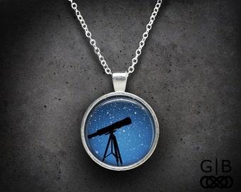 Telescope Necklace Blue Sky Necklace - Night Sky Necklace Blue Telescope Necklace - Night Sky Jewelry Telescope Pendant Blue Sky Necklace