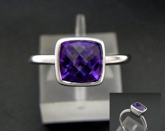 AAA Brazilian Amethyst Natural Untreated Cushion Cut   8x8mm  1.85 Carats   in a 14K White gold stacking ring. MMM