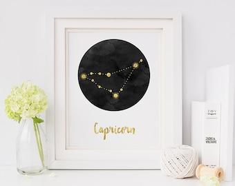 Zodiac print - zodiac - zodiac capricorn - star sign - capricorn - horoscope print - constellation print - constellation - personalised gift