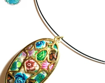Necklace, Unique  Women's polymer clay Millefiori pendant Chain by Orly Kliger