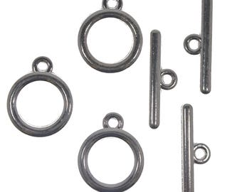 15 Silver Plated Tibetan Metal Round Toggle Clasps Necklace Findings Jewellery Making DIY Craft