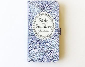 Jane Austen Gift, Pride and Prejudice Phone Case, Jane Austen iPhone Case, Book Phone Case, Book iPhone Case, iPhone 8, 7, Wallet Phone Case