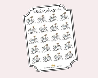 Bike Ride Stickers / Cycling Stickers / Planner Stickers / Functional / Bicycle Stickers