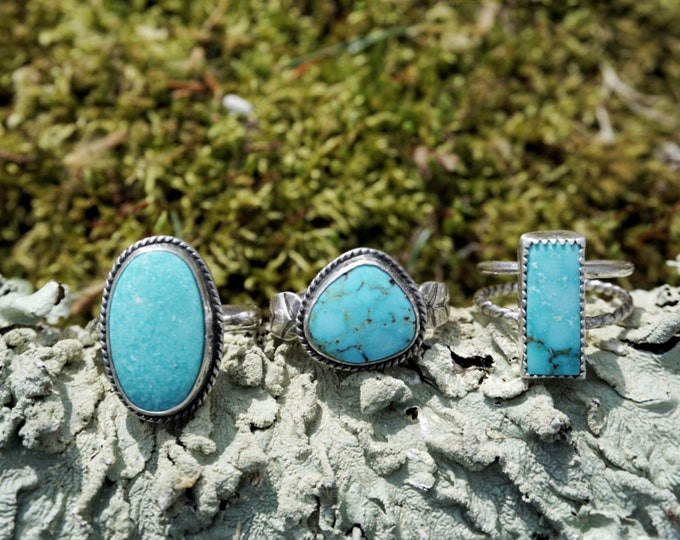 Oval Turquoise Mountain Ring, Turquoise Ring, Sterling Silver Ring, Turquoise Sterling Silver Ring