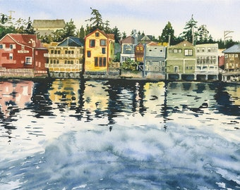 """6 """" x 10 """" Watercolor of Front Street Coupeville Washington on Whidbey Island, Pacific Northwest wall art"""