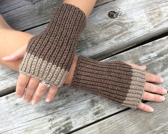 Fingerless Gloves, Mens Fingerless gloves, Knit Gloves, Wrist Warmers, Hand Warmers, Texting Gloves, Brown