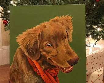Custom painting pet portrait 16x20""