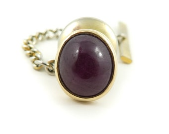 Vintage, Red Stone, Tie Tack, Gold Tone