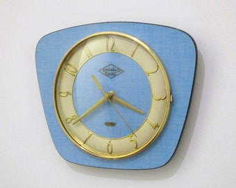 French 1950-60s Atomic Age LUTETIA Bright Blue Formica Wall Clock - Freeform Shape - Good Working Condition