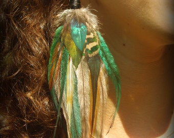 Faery moon goddess, magical elven,unique single long feather earring cruelty free feathers, one of a kind