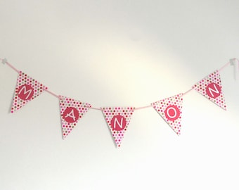 Handmade flag Garland pink, white and beige dots personalized with name, baptism, bedroom