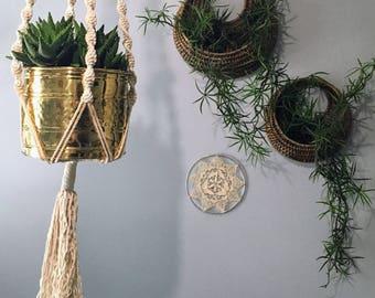 Vintage Macrame Hanging Planter. Wood Beads. Plant Hanger. Braided Natural. Plant Hanger Boho Home Decor. Wood Beads. Bohemian. Chic Ranch